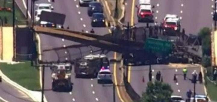 Pedestrian bridge collapses onto highway in Washington D.C