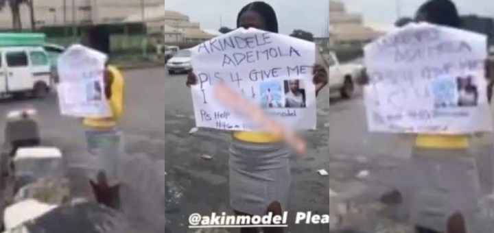 Lady storms the streets of Lagos with a placard to beg her boyfriend for forgiveness (Video)