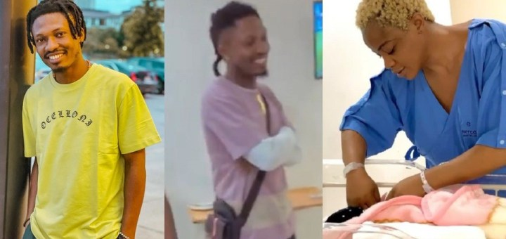 BBNaija's Efe pays actress, Uche Ogbodo a surprise visit to celebrate her new baby (Video)