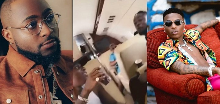 Davido shares a video of a happy Wizkid vibing to his song on a Private Jet.
