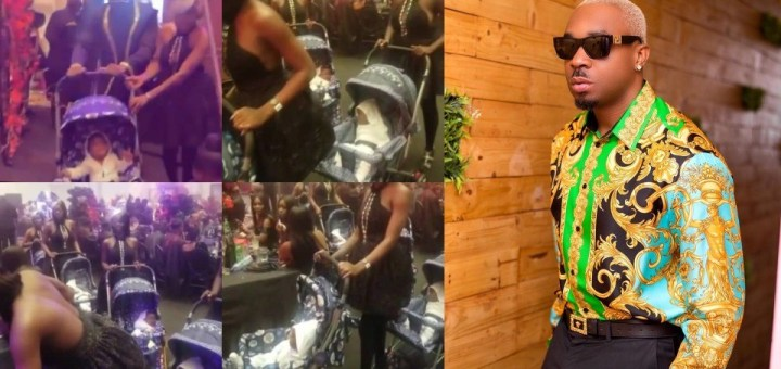 Socialite, PrettyMike storms Toyin Lawani's Wedding with Ladies pushing a Babies in Strollers (Video)