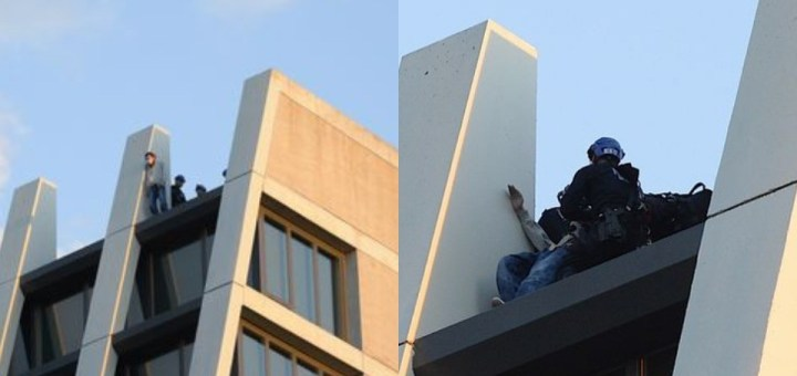 New York Police stop Suicidal Man from jumping off Building Roof (Photos)