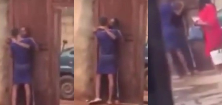 Moment a Nigerian Mother caught Daughter making out with a Man in their Compound (Video)