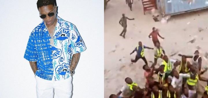 Wizkid causes frenzy as he makes money rain at Lagos Beach (Video)