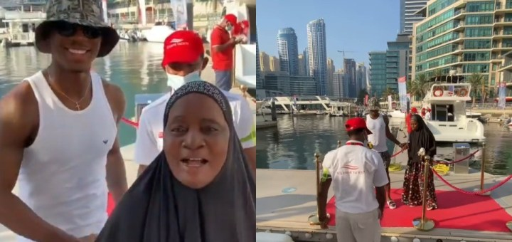 Jude Ighalo takes his mum on a Yacht cruise while on Vacation with her (Video)