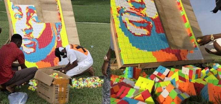 Nigerian Artist creates Portrait of Davido using 800 Rubik's Cubes (Photos, Video)