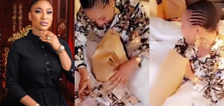 Actress, Tonto Dikeh receives N2M cash as Birthday Gift from her friend (Video)