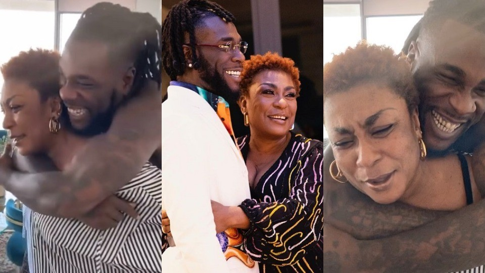 """Adorable moment Mama Burna carried the """"African Giant"""" on her back as he celebrated his 30th birthday. (Video)"""