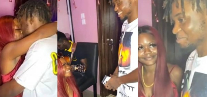 A skit or Not? Video captures moment a Nigerian lady proposed to her man (Video)