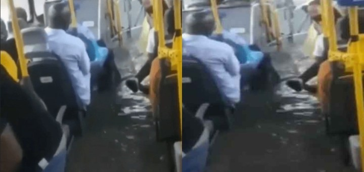 Passengers laments as flood takes over BRT bus in Lagos (Photos, Videos)