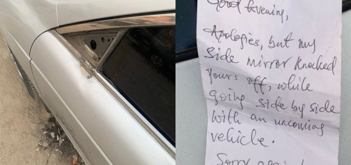 Nigeria man shocked to see a note left on his windscreen by person who damaged his side-mirror
