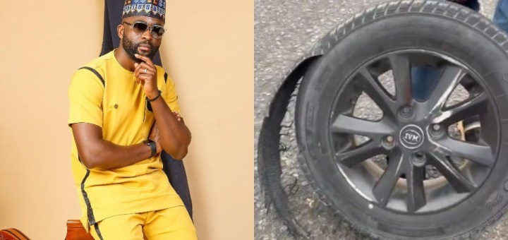 BBNaija star, Gedoni miraculously survives a tyre blowout in Lagos (Video)