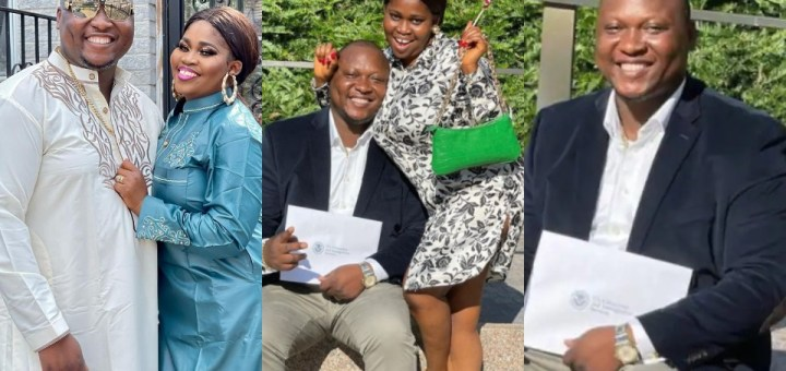 Nollywood actress,Tawa Ajisefinihas taken to social media to celebrate her husband on his latest achievement as he becomes a U.S citizen.