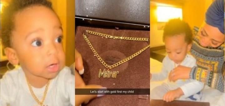 Actress Regina Daniels gifts son Munir a customized gold necklace (Video)