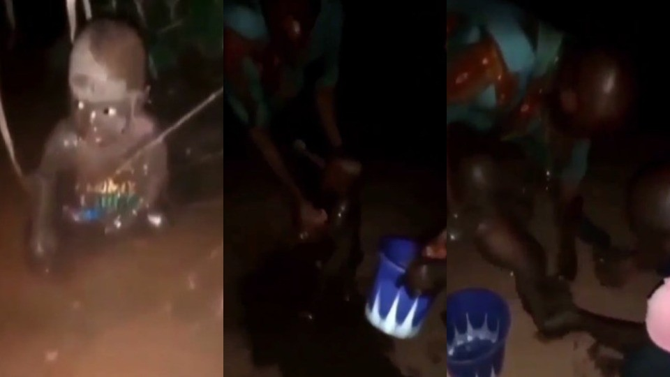 Residents of Edo community rescue a baby who was abandoned in muddy water (Video)