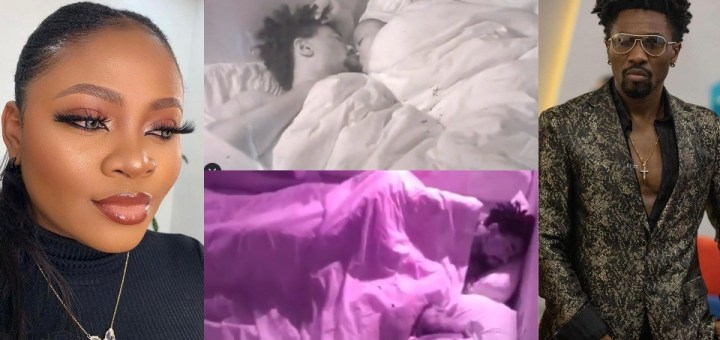 #BBNaija 2021: Never before seen video of Tega making out with Boma at midnight surfaces