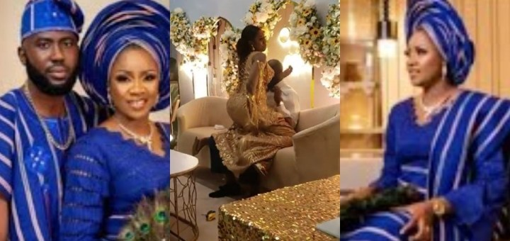 Actress Olayinka Solomon twerks on her husband in the presence of family and friends at their wedding reception in Lagos; Nigerians react (Video)