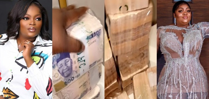 Actress, Eniola Badmus shows off wads of cash Funke Akindele gifted her for her birthday (Video)