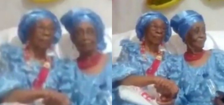 """""""I tap into this"""" - Nigerians react as besties of 80 years celebrate as one of them turns 90 (Video)"""