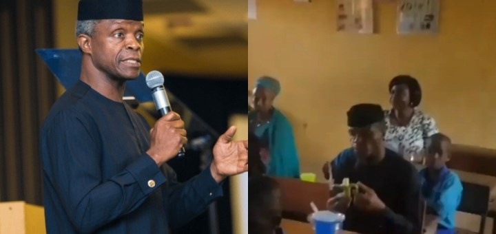 """""""Casted format"""" - Nigerians react to video of VP Yemi Osinbajo eating with School Pupils in a Classroom"""