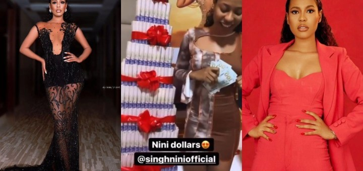 #BBNaija star, Nini Singh shows off hard Currency and other gifts she received from her fans (Video)