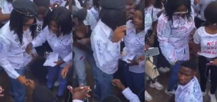 TASUED graduating student left disappointed after his girlfriend rejected his Proposal and threw away his ring (Video)