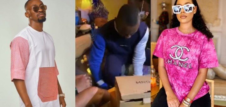 """""""No other option than to be lovers"""" - Reaction as Saga helps Nini put on shoe gift from 'shippers' (Video)"""