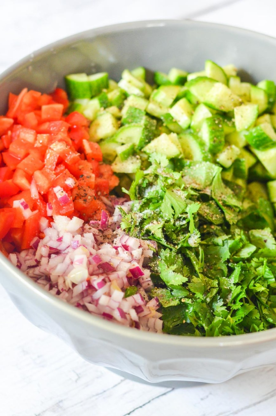 Mediterranean Quinoa Salad Recipe w. Cucumber, Pepper, + Onion