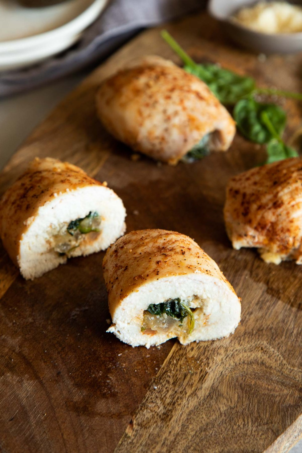 Parmesan Chicken Roll Ups - cut in half - view from side