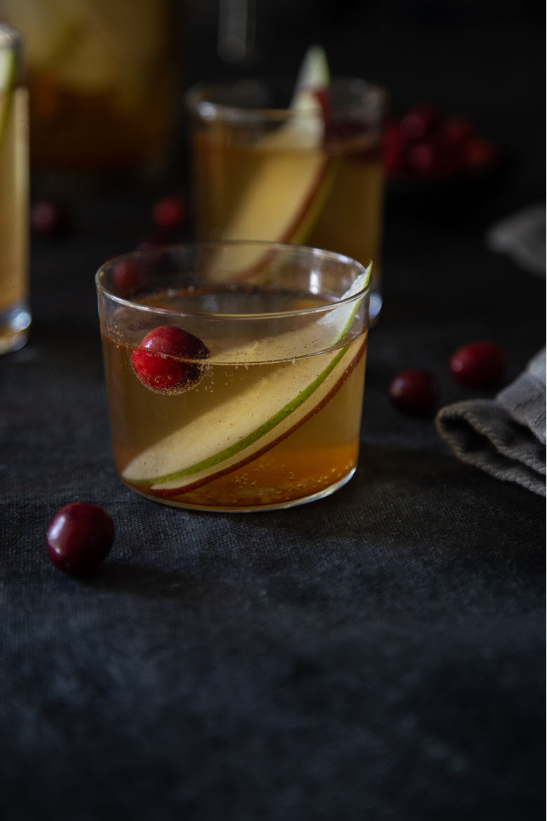 White Wine Winter Sangria w. Apples, Pears, + Cranberries