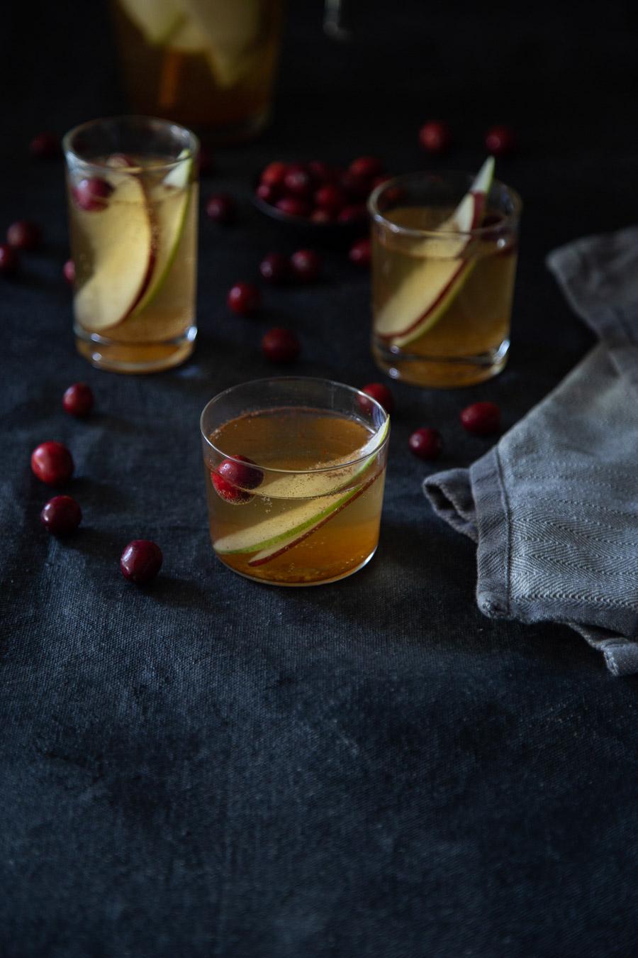 White Wine Winter Sangria w. Apples, Pears, + Cranberries