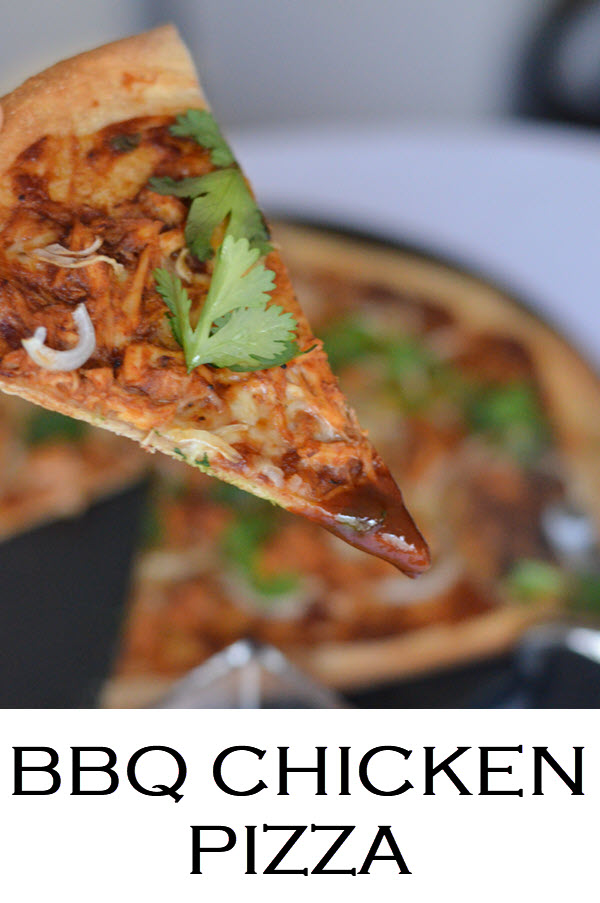 Thai BBQ Chicken Pizza Recipe. A great shredded chicken leftover recipe. #dinnerrecipe #chicken #chickenrecipe #rotisseriechicken #weeknightdinner #bbqchicken #pizza #pizzarecipe #foodblog #LMrecipes #foodblogger #hoisinsauce #sriracha #chickendinner