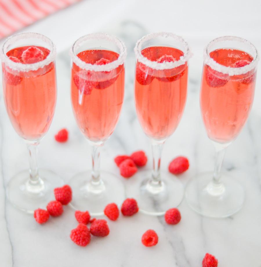 Rosé Cocktail w. Raspberries