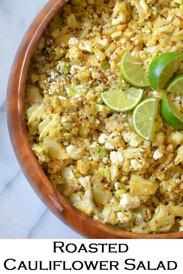 Roasted Cauliflower Salad w. Quinoa. Mexican salad flavors with delicious, healthy roasted cauliflower. Delicious make-ahead recipe. Dish can be served warm or cold. #LMrecipes #vegetarian #cauliflower #foodblog #sidedish #cauliflowerrecipe #Mexicanfood #mexican recipes #quinoa #quinoarecipe #healthyrecipe#healthy #foodblogger