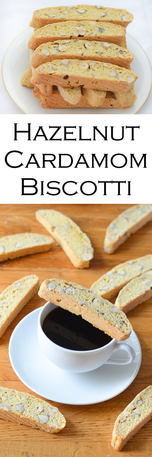 Delicious and Easy Recipe for Cardamom Hazelnut Biscotti Cookies. This low fat biscotti recipe doesn't contain butter and give you a perfectly crumbly and crunchy cookie to enjoy with coffee or tea. #cookies #cookierecipe #dessert #cardamom #hazelnut #biscotti #coffeetime #LMrecipes #foodblog #foodblogger