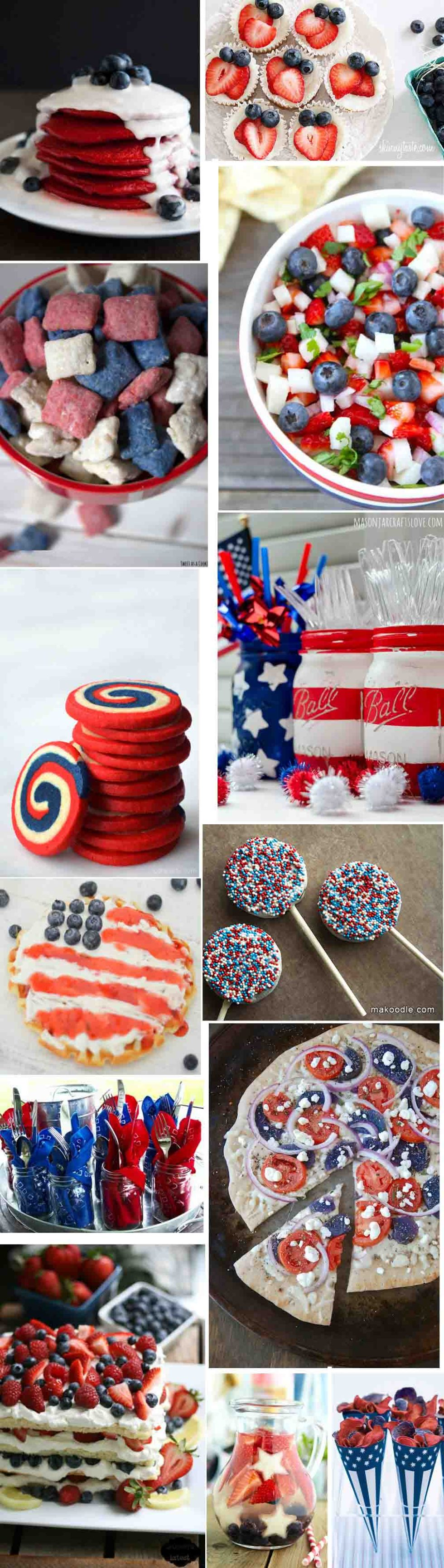 Red, White, + Blue Patriotic Food + Decor