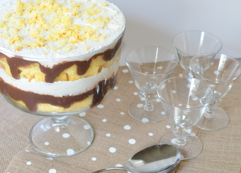Easy Trifle Cake Recipe w. Chocolate Pudding + Yellow Cake