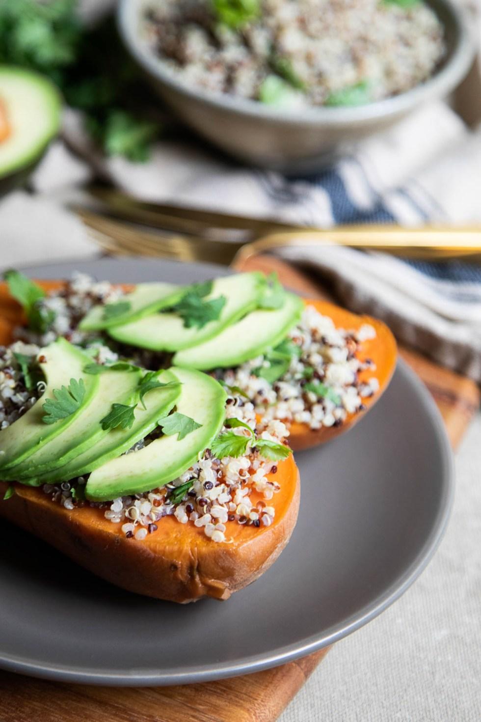 Quinoa Stuffed Sweet Potatoes with Avocado Slices