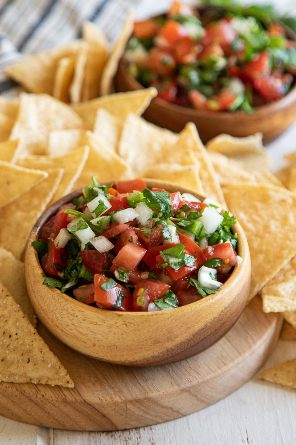 Homemade Pico de Gallo in Small Wooden Bowl with Chips