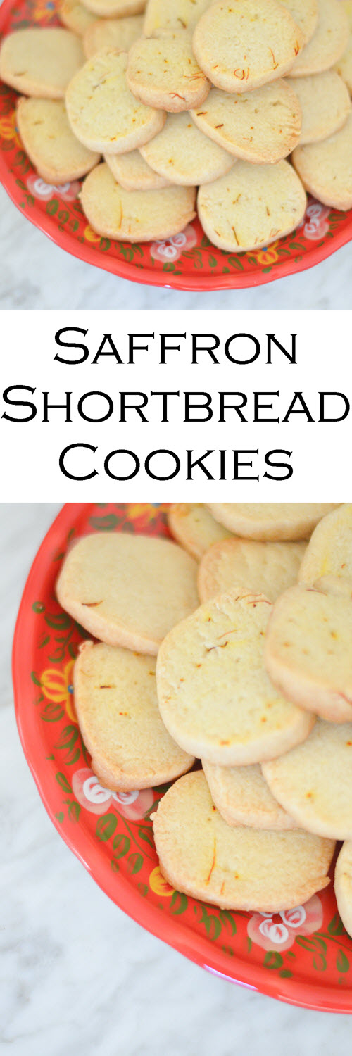 Saffron Cookies Recipe. This twist on the classic shortbread cookie recipe is fun and easy. And we always need more saffron recipes that aren't paella! #LMrecipes #cookies #cookierecipe #foodblog #foodblogger #dessert #saffron #shortbread