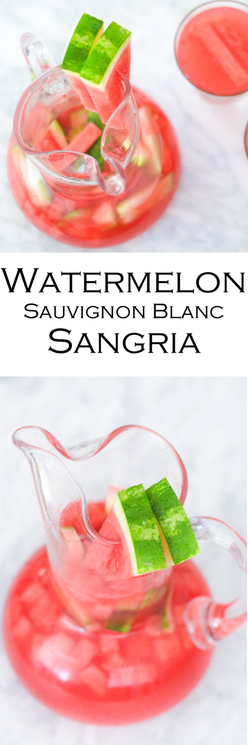 Watermelon Sangria Recipe with White Wine (Sauvignon Blanc). An easy summer cocktail with few ingredients. #LMrecipes #sangria #whitewine #drinks #drinkrecipe #sauvignonblanc #whitewinesanria #drinkrecipes #summersangria #summerdrinks #watermelondrink #watermelon #foodblog #foodblogger