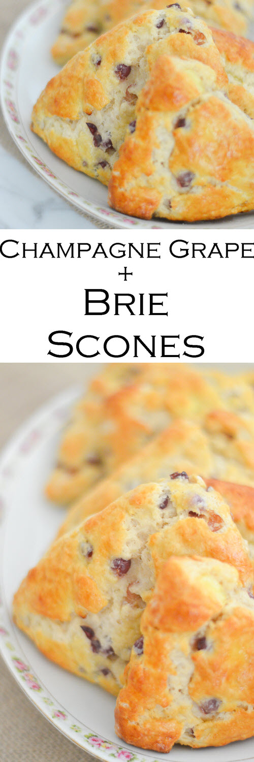 Brie Scones w. Champagne Grapes Recipe. A fun and delicious bread recipe for high tea or brunch with brie cheese and mini grapes. #LMrecipes #scones #bread #recipe #brie #briecheese #brunch #hightea #foodblog #foodblogger