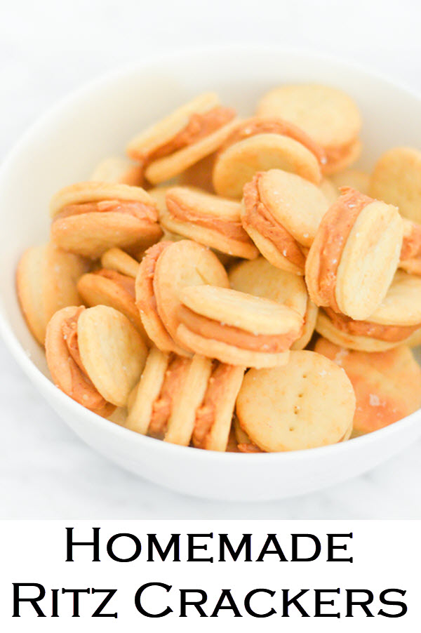 Homemade Ritz Crackers w. Peanut Butter. A fun homemade recipe for peanut butter sandwiches. This recipe is the most authentic homemade ritz cracker you can get! #recipe #kidfriendly #kidsfood #LMrecipes #peanutbutter #foodblog