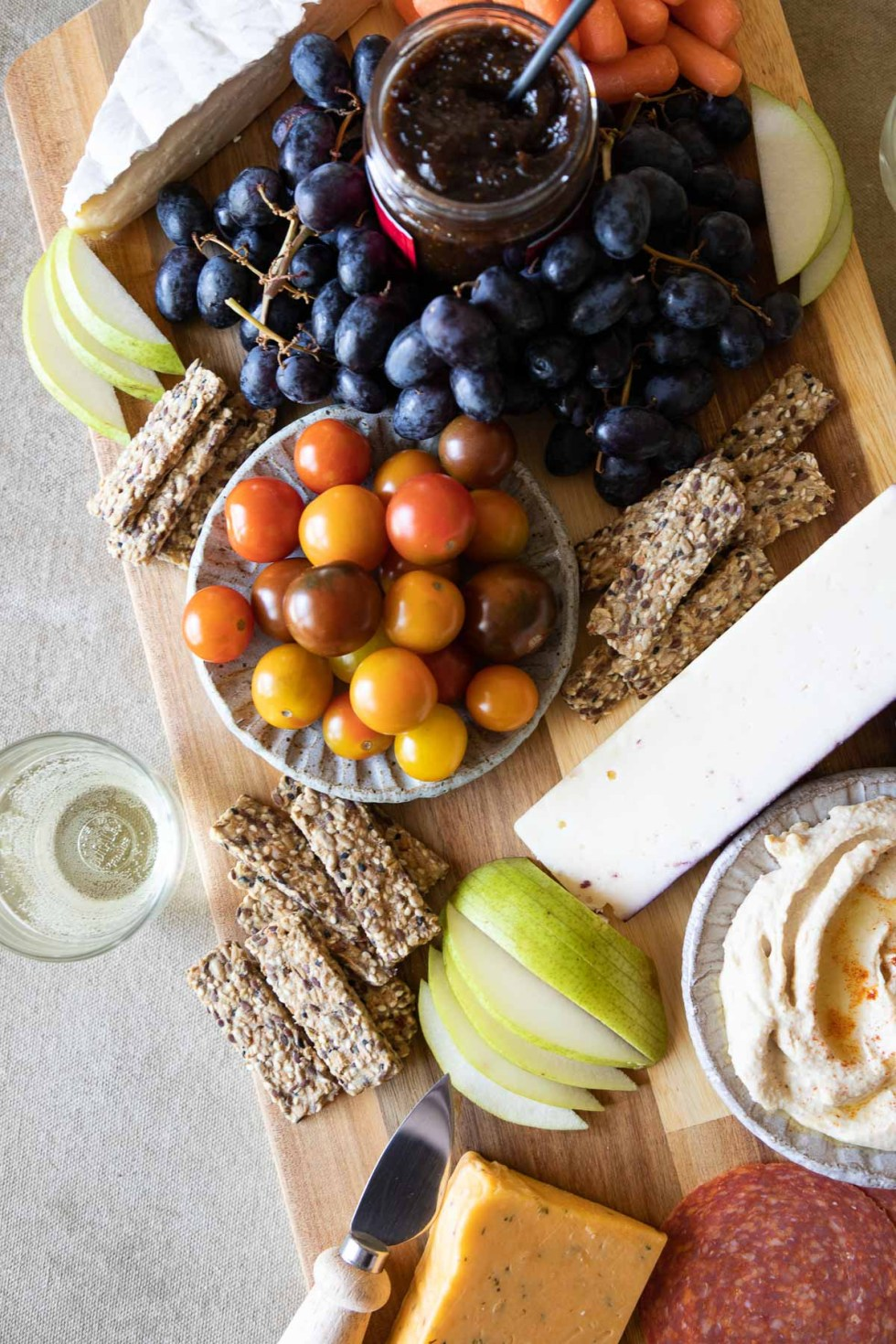 Trader Joe's Charcuterie Appetizer Board - Cheese, Tomatoes, Grapes + Crackers
