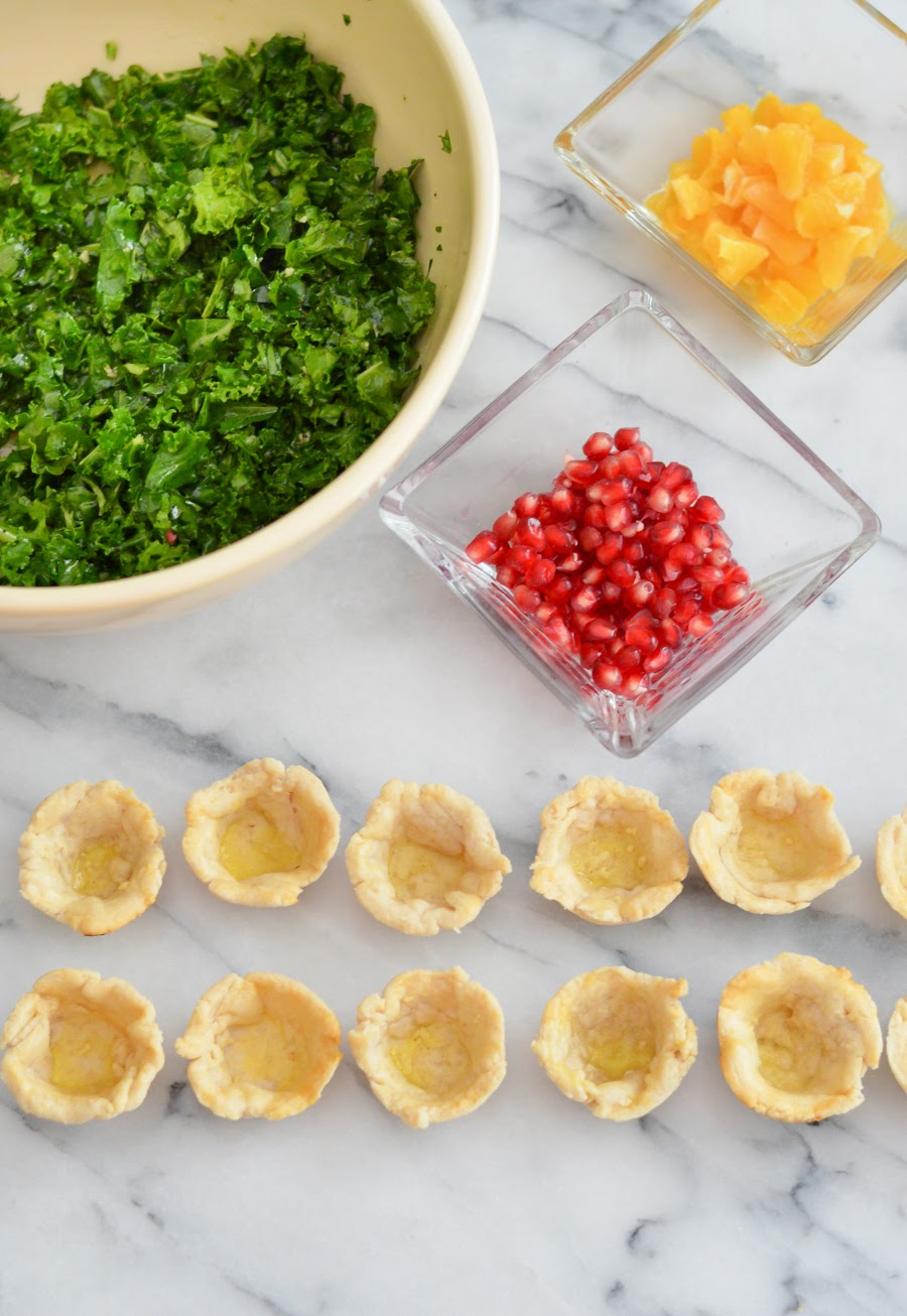 Mini Pomegranate Kale Salad Appetizer Cups w. poppy Seed Dressing. Make Ahead Thanksgiving Appetizers