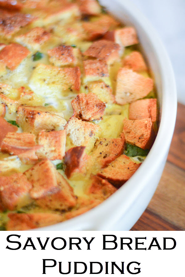 Savory Bread Pudding. An easy and delicious breakfast or brunch recipe. This vegetarian egg recipe is full of vegetables an is a healthy brunch dish everyone will love!