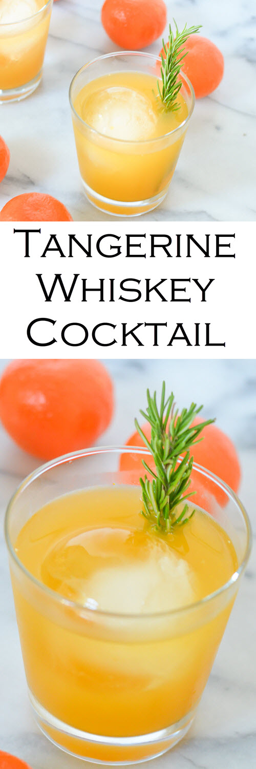 Tangerine Whiskey Cocktail. A delicious citrus drink with flavorful, fresh citrus. This easy cocktail recipe is perfect in the winter!