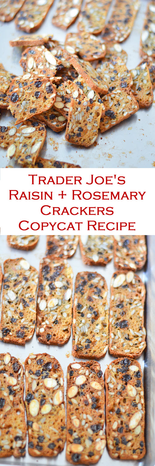 Trader Joe's Rosemary + Raisin Cracker Copycat Recipe. A fun Trader Joe's copycate recipe for delicious nut & seed crackers. These raisin crackers with rosemary are great on their own or with a spread!