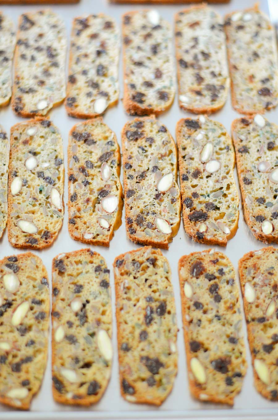 Par Cooked Cracker Slices on Sheet pan