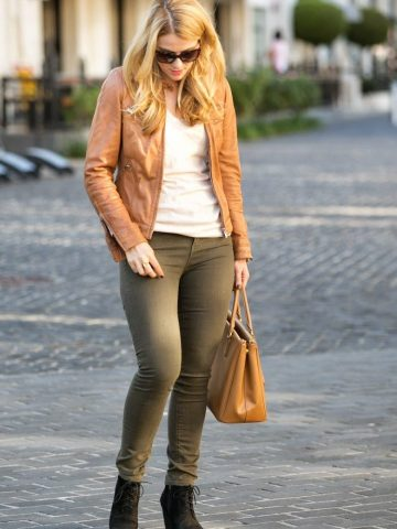 Skinny Jeans + Tan Leather Jacket